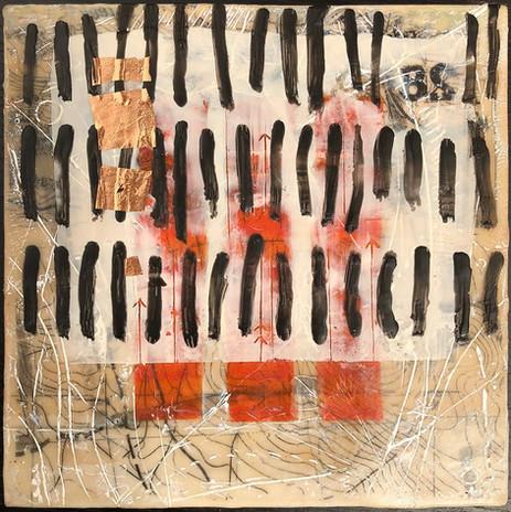 """Earthmarks 2"" by Sara Bowers. Encaustic. 20x20cm. $190"