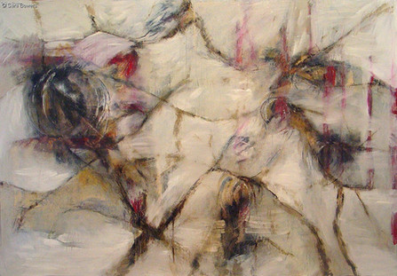 """""""Bushfire"""" by Sara Bowers. Mixed Media with Bushfire Charcoal on Canvas Covered Board. 165 x 114cm. SOLD"""