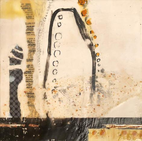 """""""Formation 1"""" by Sara Bowers. Encaustic. 20x20cm. $190"""