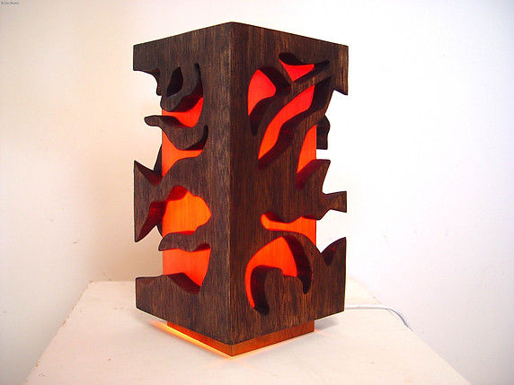 """""""Untitled Cube"""" by Sara Bowers. Huon Pine and Leatherwood 12 x 12 x 25 cm. SOLD"""