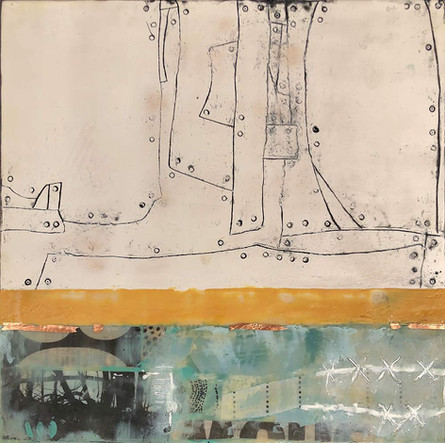 """Fragments 3"" by Sara Bowers. Encaustic. 30x30cm. $620"