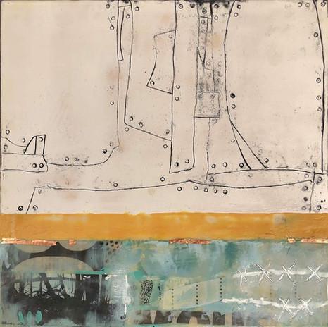 """""""Fragments 3"""" by Sara Bowers. Encaustic. 30x30cm. $620"""