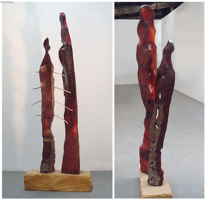 """""""The Two"""" by Sara Bowers.  Red Gum, Driftwood, Tasmanian Sandstone 55x 40x140cm"""