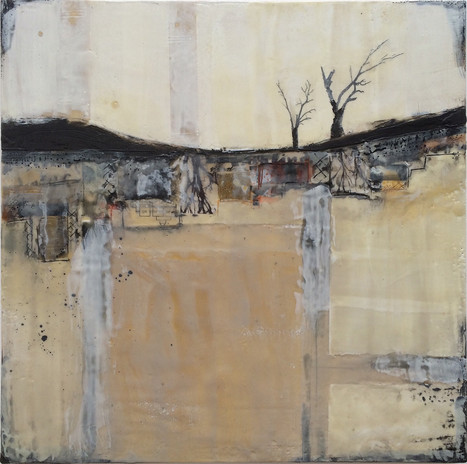 """""""And Then There Were Two"""" by Sara Bowers. Encaustic, mixed media. 40x40cm. SOLD"""