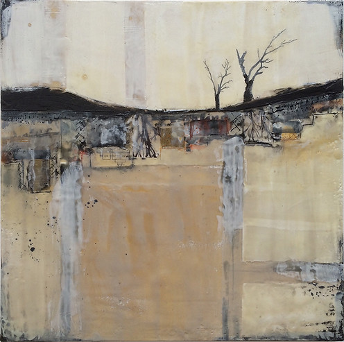 """And Then There Were Two"" by Sara Bowers. Encaustic, mixed media. 40x40cm. SOLD"