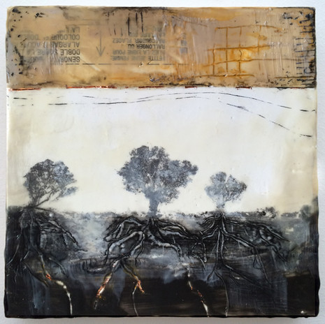 """""""Systems"""" by Sara Bowers. Encaustic, pigment and copper foil. 20x20cm. SOLD"""