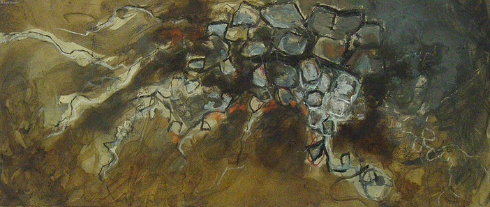 """""""Flow #1"""" by Sara Bowers. Mixed Media on Paper.  24x60 cm."""