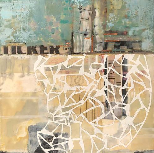 """Fragile Land"" by Sara Bowers. Encaustic. 40x40cm. $790"