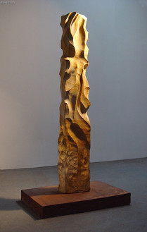 """""""Windsong"""" by Sara Bowers. Tasmanian Sandstone, Recycled Steel 23x16x143cm (measured without base)"""