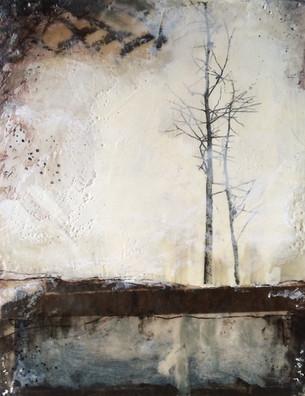 """Close"" by Sara Bowers. Encaustic. 175x355mm. SOLD"