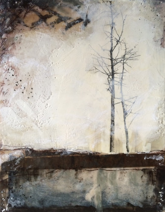 """Close"" by Sara Bowers. Encaustic. 175x355mm. SOLD"