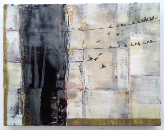"""""""Migration"""" by Sara Bowers. Encaustic 350x280mm. SOLD"""
