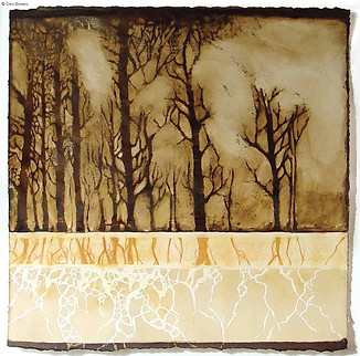 """""""Tree Roots"""" by Sara Bowers. Mixed Media on Paper. 50x50cm (excluding frame). SOLD"""