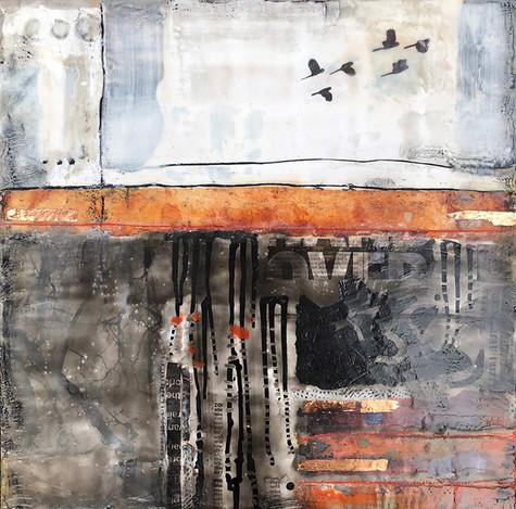 """Boundary Line"" by Sara Bowers. Encaustic. 40x40cm. $790"