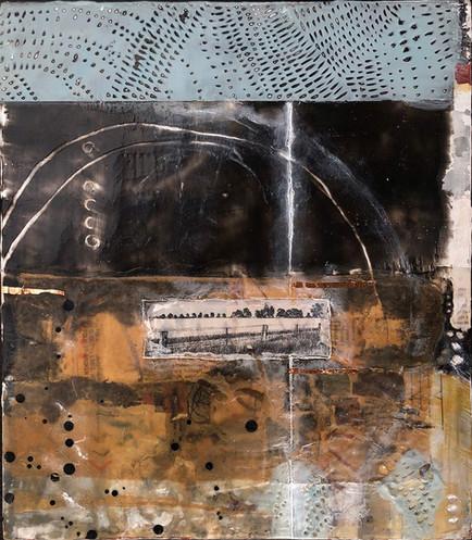 """""""Fenceline"""" by Sara Bowers. Encaustic. 40x50cm. $810"""