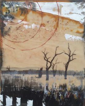 """May"" by Sara Bowers. Encaustic. 20x25cm. SOLD"