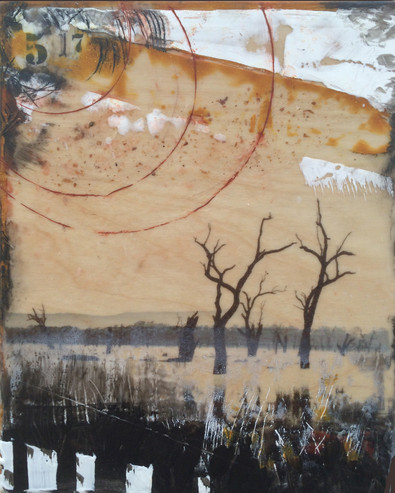 """May"" by Sara Bowers. Encaustic. 20x25cm. SOLD"