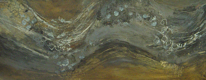 """""""Flow #2"""" by Sara Bowers. Mixed Media on Paper. 24 x 60 cm"""