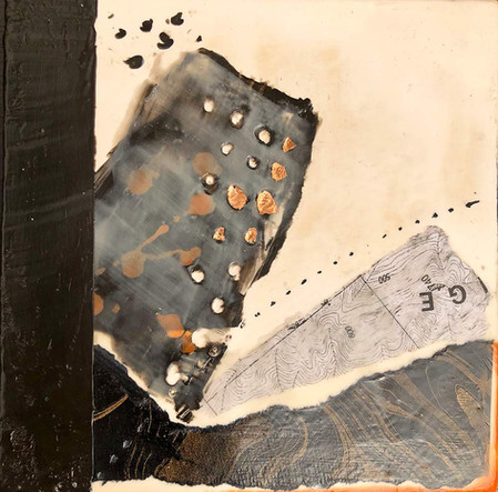 """Fragments 2"" by Sara Bowers. Encaustic. 20x20cm. $190"
