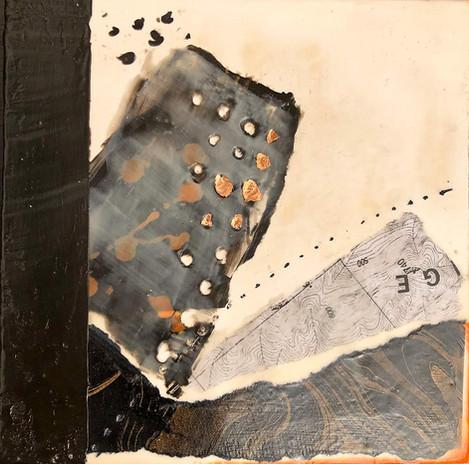 """""""Fragments 2"""" by Sara Bowers. Encaustic. 20x20cm. $190"""