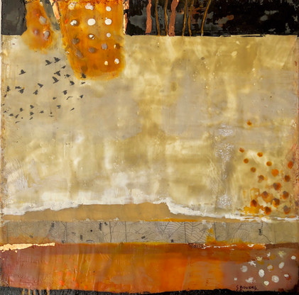 """Territory 1"" by Sara Bowers. Encaustic with copper foil 400x400mm. SOLD"