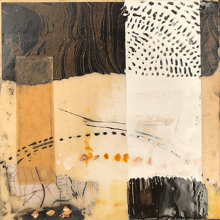 """Lay Of The Land"" by Sara Bowers. Encaustic. 20x20cm. SOLD"