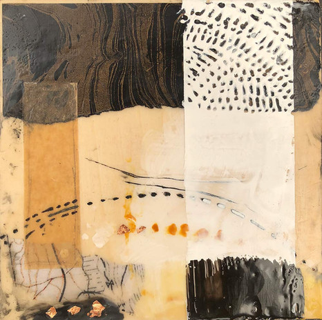 """""""Lay Of The Land"""" by Sara Bowers. Encaustic. 20x20cm. SOLD"""