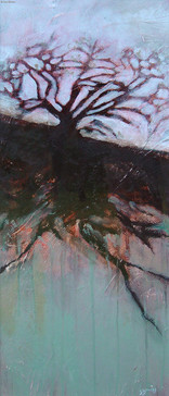 """""""Juniper Tree"""" by Sara Bowers. Mixed Media on Paper. 27x65cm (excluding frame) SOLD"""