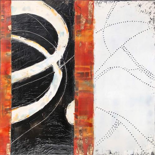 """""""Tracklines 1"""" by Sara Bowers. Encaustic. 30x30cm. $620"""