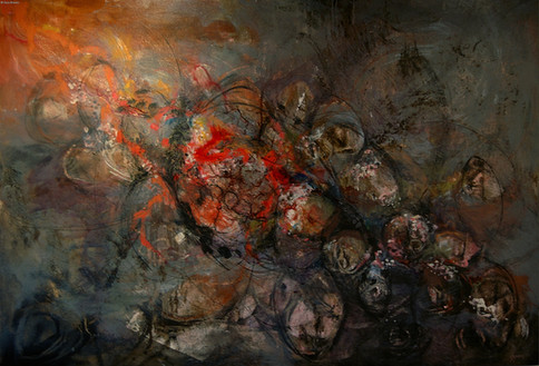 """""""Banksia"""" by Sara Bowers. Mixed Media with Bushfire Charcoal on Canvas Covered Board. 165 x 114cm. SOLD"""