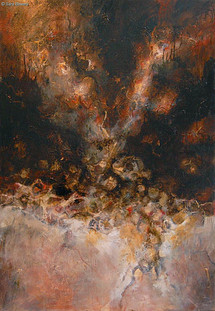 """""""Out of Entropy"""" by Sara Bowers. Mixed Media on Canvas Covered Board. 165 x 114cm. SOLD"""