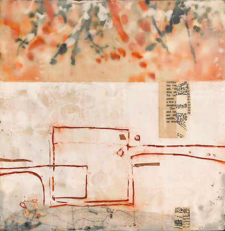 """Borders and Branches"" by Sara Bowers. Encaustic. 30x30cm. $620"