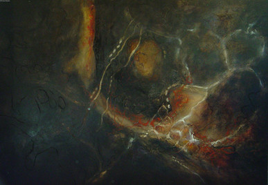 """""""Seed Pod Structure"""" by Sara Bowers. Mixed Media on Canvas Covered Board  165 x 114 cm. SOLD"""