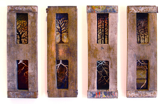 """""""Stained Glass Trees"""" by Sara Bowers.  Mixed Media on Paper. SOLD"""