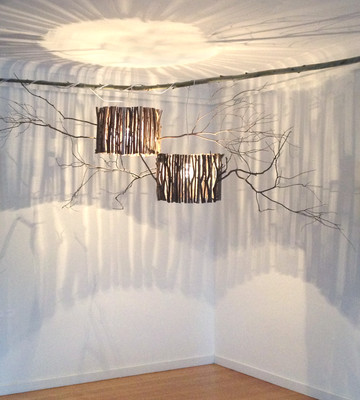 """""""Grampians Illumination Lights"""" by Sara Bowers. Local Salvaged Wood and Recycled Fencing Wire40cm high x 65 cm wide"""