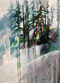 """""""Mount Hood"""" by Sara Bowers. Acrylic on Paper. 10x14in. SOLD"""