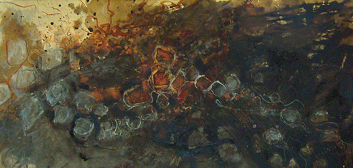 """""""Flow #3"""" by Sara Bowers. Mixed Media on Paper. 24 x 60 cm. SOLD"""