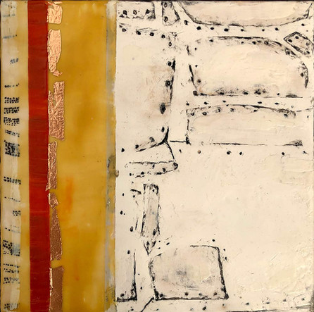 """Fragments"" by Sara Bowers. Encaustic. 20x20cm. $190"