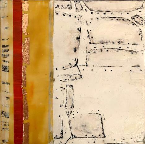 """""""Fragments"""" by Sara Bowers. Encaustic. 20x20cm. $190"""