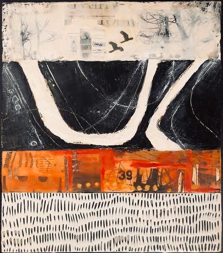 """""""The Road Ahead"""" by Sara Bowers. Encaustic. 40x50cm. $810"""