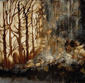 """""""The Walk to Harpstring Falls"""" by Sara Bowers. Mixed Media on Paper. 56x56cm (excluding frame). SOLD"""