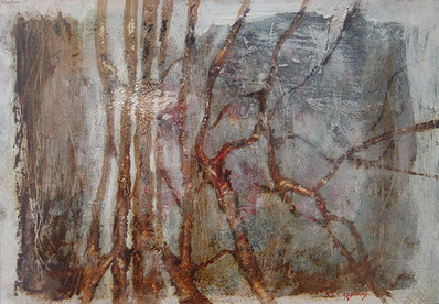 """""""Grampians Reflections"""" by Sara Bowers. Mixed Media with Earth Pigments on Paper 41x25cm excluding frame"""