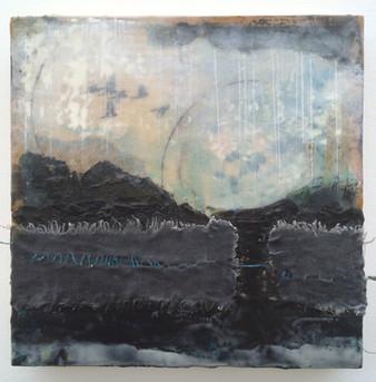 """""""Storm"""" by Sara Bowers. Encaustic. 35x35cm"""
