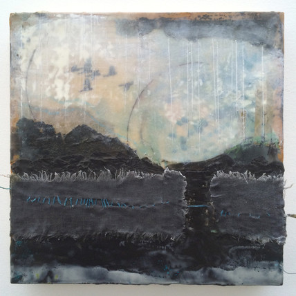 """Storm"" by Sara Bowers. Encaustic. 35x35cm"