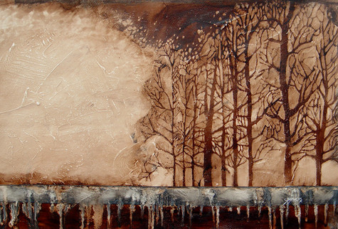 """""""High Waters"""" by Sara Bowers. Mixed Media on Paper. 32x46cm. SOLD"""