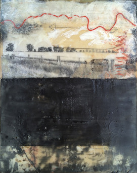 """""""Wimmera 3"""" by Sara Bowers. Encaustic. 175x355mm. SOLD"""