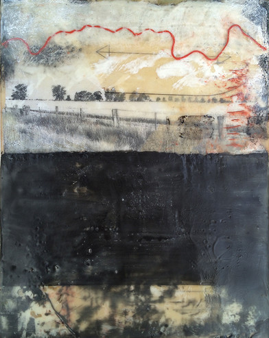 """Wimmera 3"" by Sara Bowers. Encaustic. 175x355mm. SOLD"