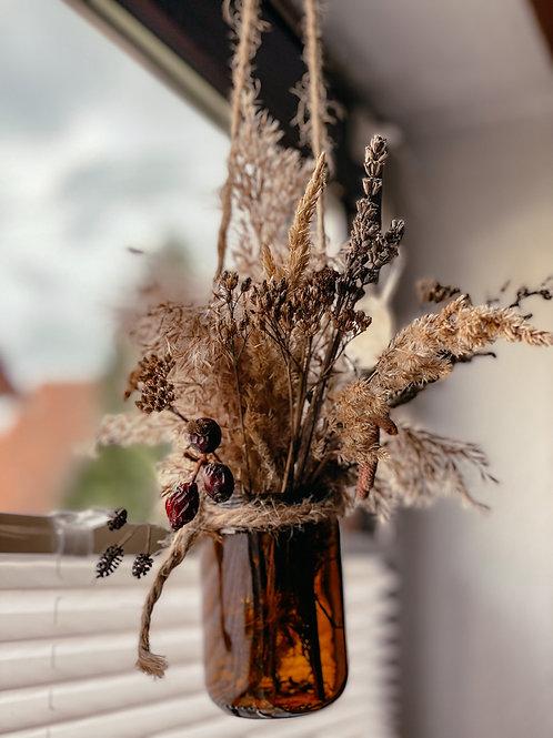 Deko Trockenblumen Strauß im Glas