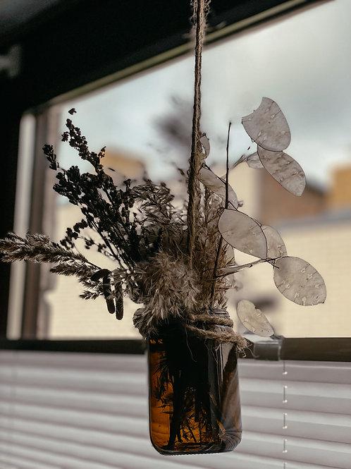 Deko Trockenblumen Strauß im braunen Glas 2