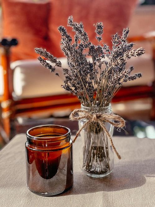Deko Lavendel Trockenblumen Strauß im Glas